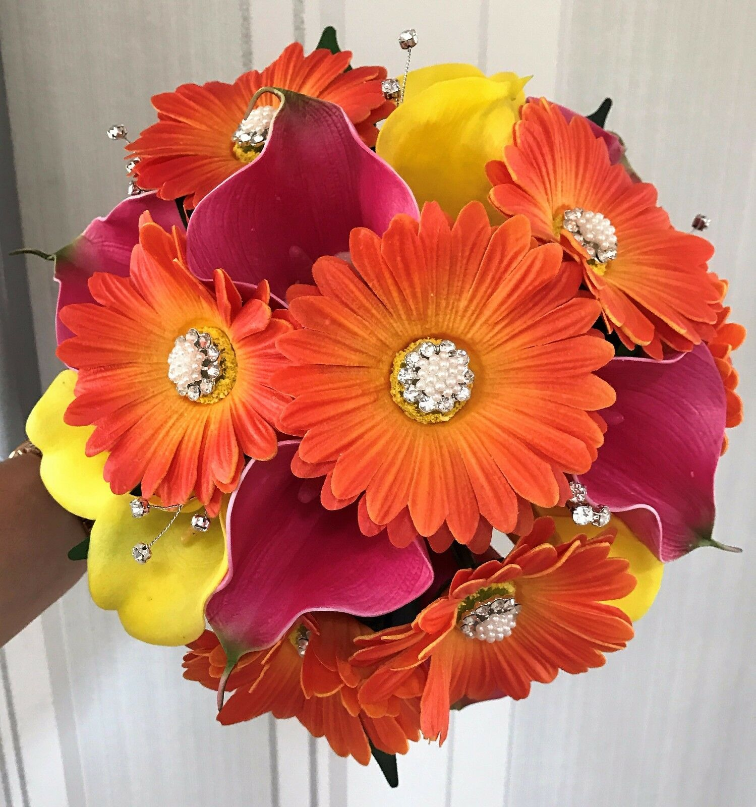 Wedding  Posy Bouquet, Brides Flowers made with tropical 'real touch' flowers