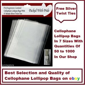 CLEAR CELLOPHANE - LOLLIPOP BAGS - / DISPLAY BAGS / COOKIES / SWEETS
