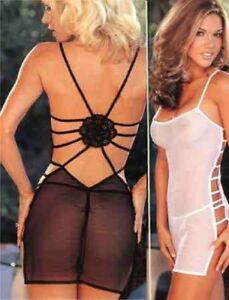 Shirley-of-Hollywood-Stretch-Spandex-Mesh-Chemise-with-Thong-Large-Black