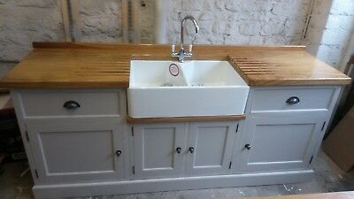 Painted Freestanding Kitchen Utility Double Belfast Sink Unit Solid Wood Ebay