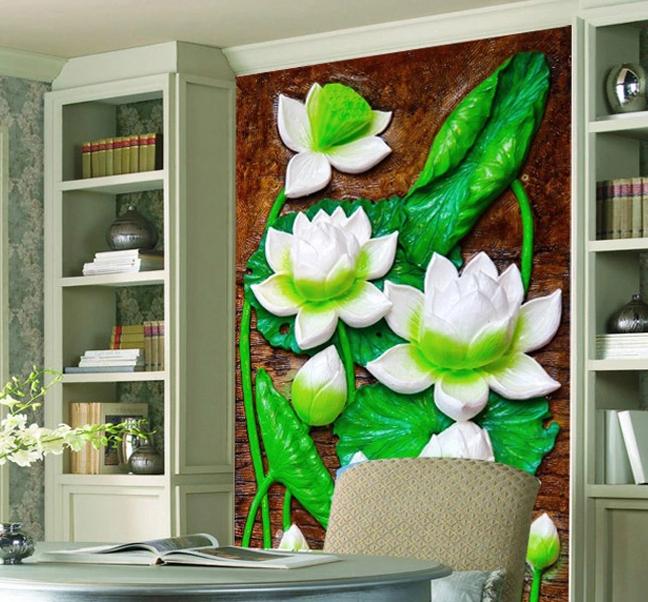 3D Weißer Lotus Jade 66 Tapete Tapeten Mauer Foto Familie Tapete Wandgemälde
