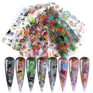 10-PCS-Pack-Halloween-Nail-Foils-Stickers-Transfer-Decals-Paper-Nail-Art-Decors