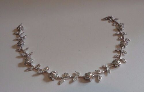 FLOWER LEAF BRACELET W// LAB DIAMONDS// 925 STERLING SILVER LENGTH 7/'/'