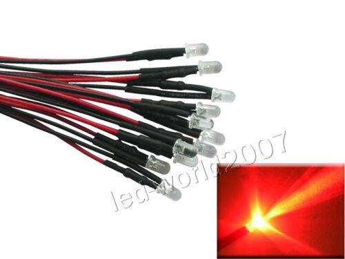 50pcs 5mm Red LED Bulb Light Prewired Resistors Ready for 12V//24V