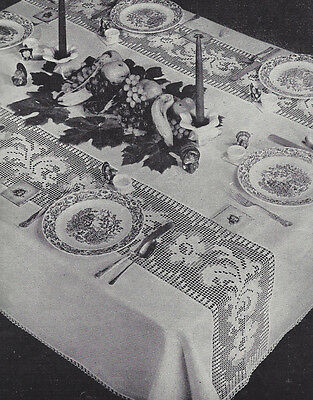 Vintage Crochet PATTERN to make Filet Flower Wide Band Panel Edging Tablecloth