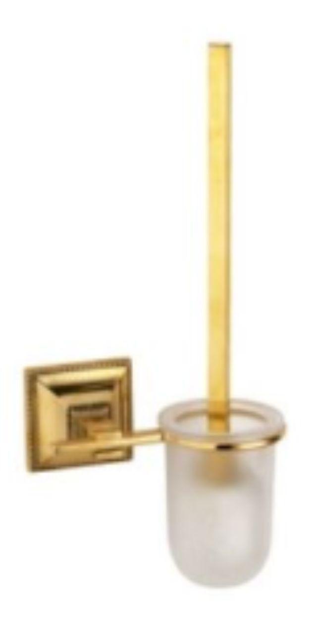 WC Garnitur Gold 42cm Toilettenbürste Bürste poliertes Messing Klobürstenhalter