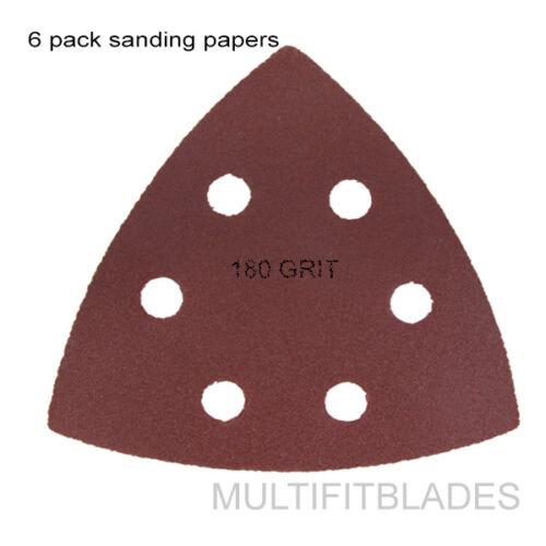 6 Pack Large Triangular Size 180 Grit Velcro Hook /& Loop Sanding Papers
