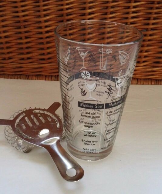 Vintage Mid Century Glass Cocktail Drink Shaker Mixer With Printed Recipes Retro