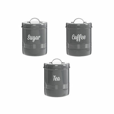Tea Coffee Sugar Canisters Jars Kitchen Storage Pots With Lids Marlo Grey Color