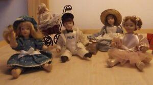 4 Pour Collection, Poupées En Porcelaine / Céramique, Bébé Délicate