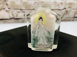 Chinese Glass Painted Inside Kwan-Yin Guanyin Bodhisattva snuff bottle
