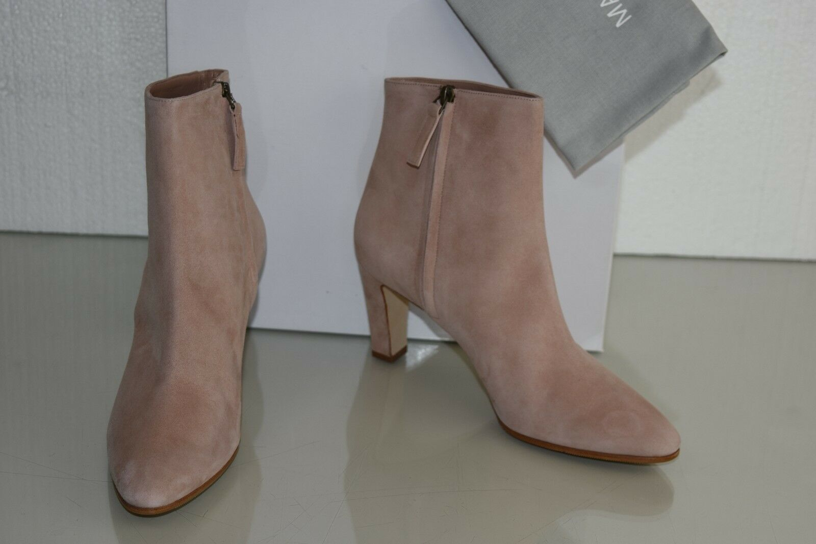 965 NEW MANOLO MANOLO MANOLO BLAHNIK INSOPO 70 ANKLE Stiefelies Stiefel BLIGE Rosa NUDE Suede 40.5 14414a