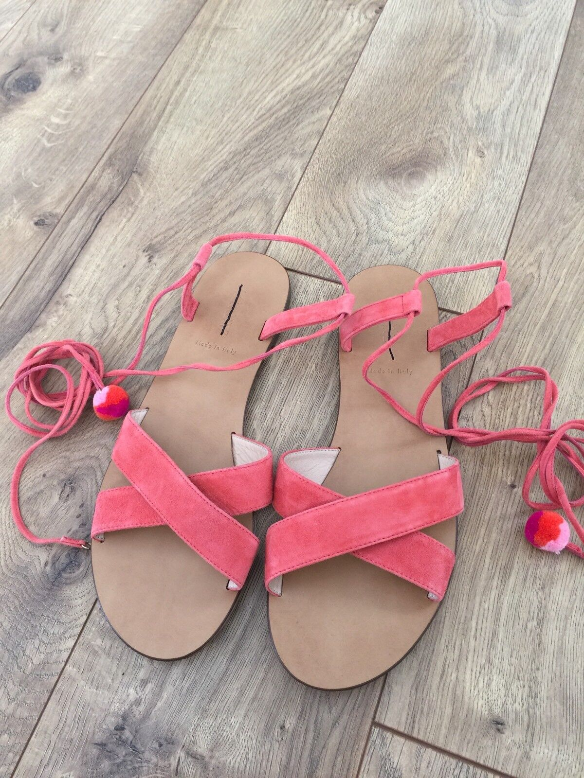 J.Crew F9680  138 Suede Pom-Pom Sandals Lace Up In Coral MADE IN ITALY 9 NEW