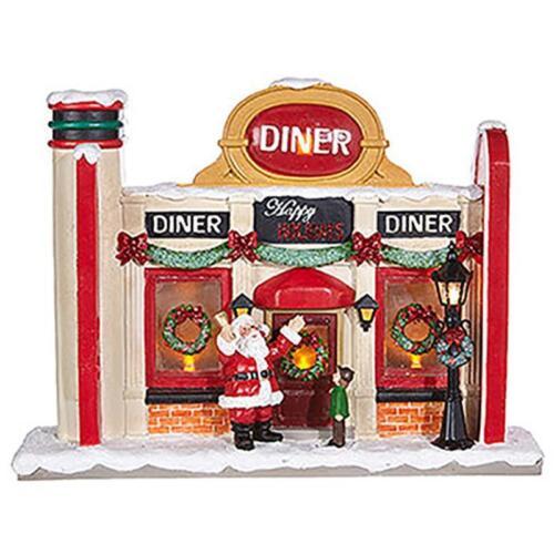 "NEW Raz 11.5/"" Retro Lighted Store Front Christmas Figures Decoration 3801668"