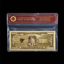 WR US America $1 Billion Dollars Bill Note 24K Gold Colored Banknote /w COA Case