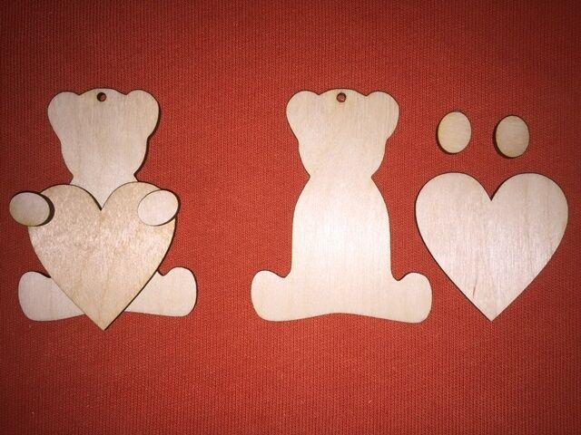 10 sets TEDDY BEAR BEAR BEAR n5 PLAIN UNPAINTED  WOODEN SHAPE HANGING GIFT BIRTHDAY TAG ce0d22