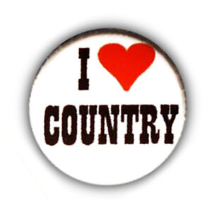 Badge-I-LOVE-COUNTRY-heart-Urban-Cowboy-Western-retro-rock-pin-button-25mm