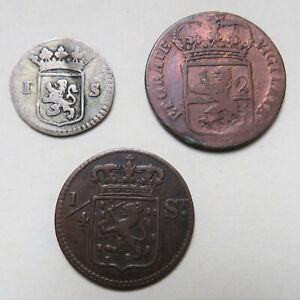 Niederlande-Hollandia-Stuiver-1733-Niederl-Indie-1-4-St-1826-Overyssel-Duit