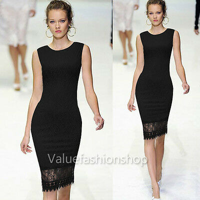 Womens Elegant Lace Crochet Bodycon Sheath Party Evening Career Pencil Dress 460