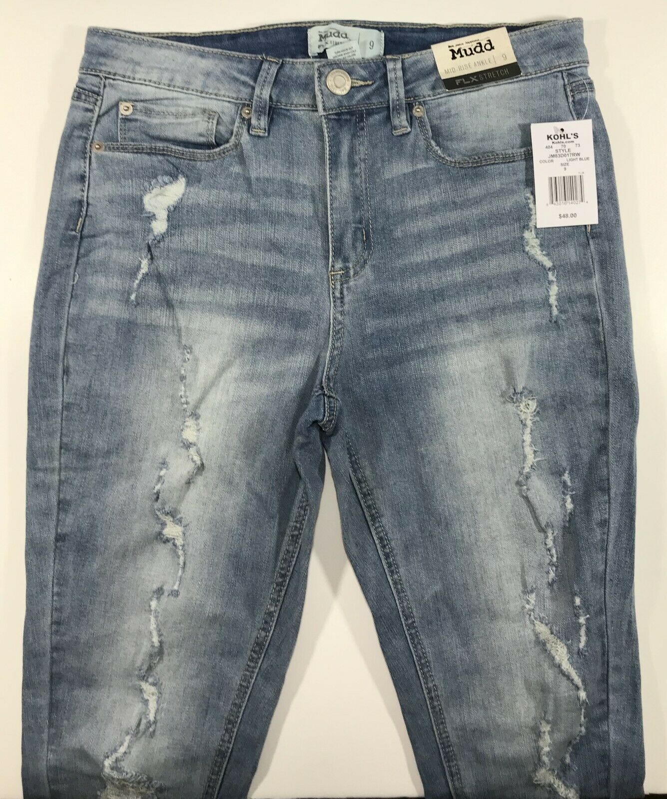 Mudd Mid-Rise Ankle Flex Stretch Jeans for Women 9 bluee NWT 52% Cotton Destroyed
