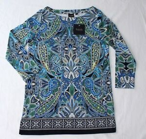 92993a0826f Details about RAFAELLA WOMEN'S 3/4 SLEEVE PAISLEY PRINT TUNIC TOP NAVY  VARIETY SIZE NWT
