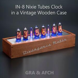 IN-8-tubes-Nixie-horloge-vintage-Coffret-en-bois-avec-douilles-divergence-Compteur-MINI