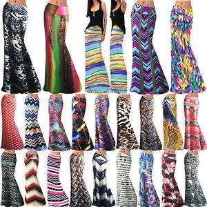 Womens-BOHO-Graphic-Maxi-Skirt-High-Waisted-Long-Gypsy-Franki-Swing-Flared-Dress