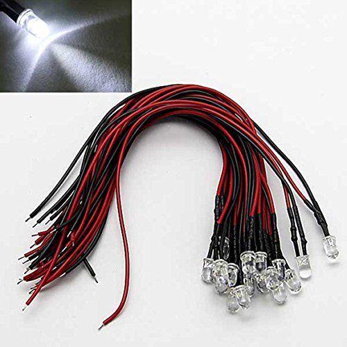 Laomao 1 Pack 20 Bombillas 5 mm 12 V DC Blanco LED pre-cableado Round Top Lámpara Bombilla para