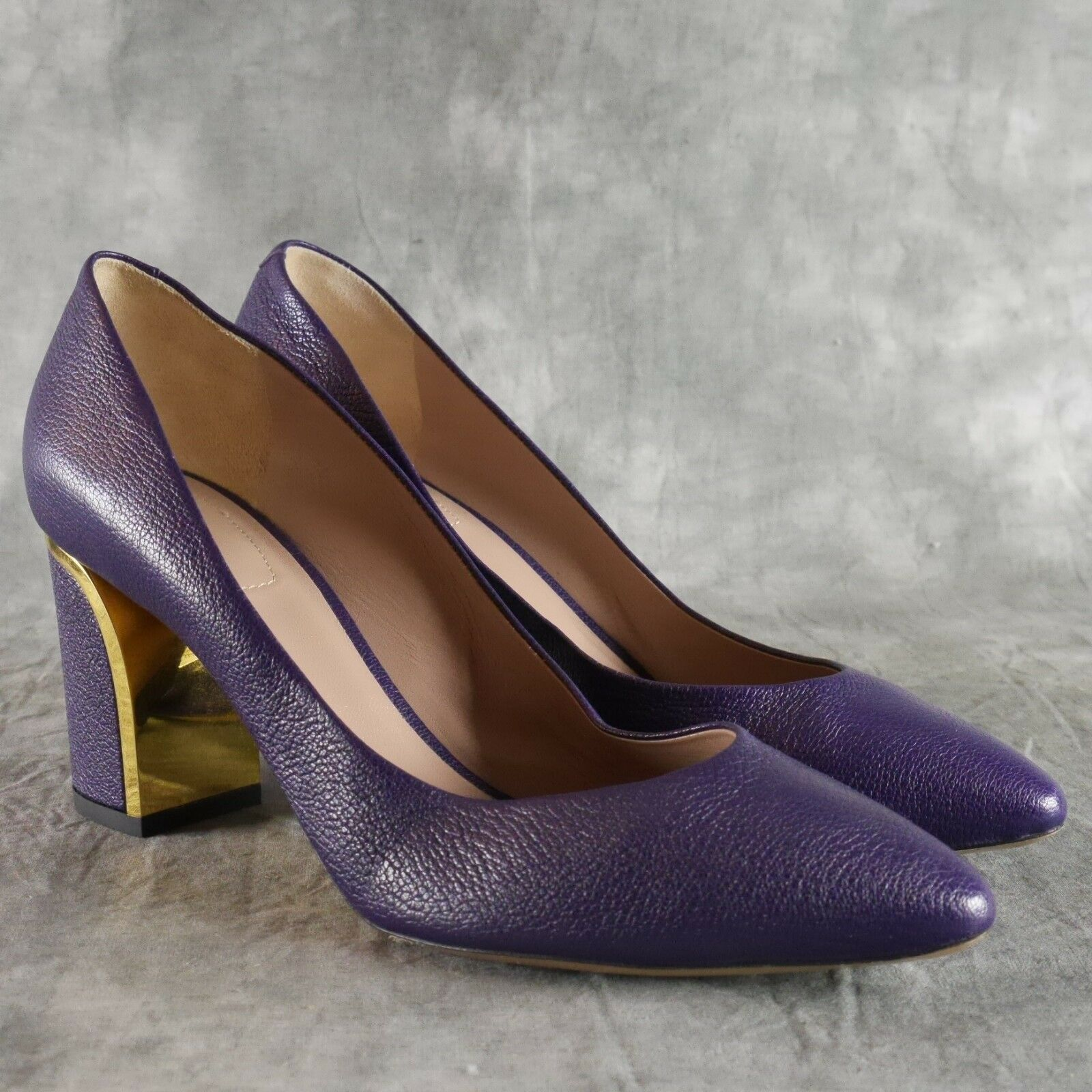 Chloe Rounded Pointed Toe Becky Purple Heels gold-tone trim Size 38 New  825 ANB