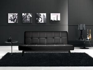 Divano Nero Moderno : Divano letto sofa nero ecopelle reclinabile design moderno