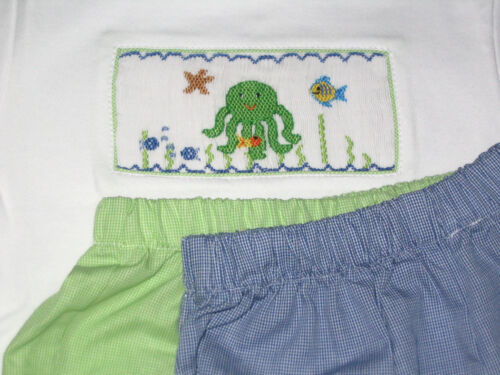 Boys Smocked Tee shirt 4T SEA OCTOPUS Flounder Or Outfit Beach NEW Vive La Fete