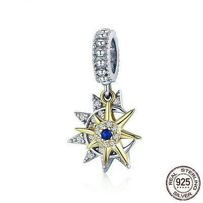 925 Sterling Silver Moon and Star Charm Bead for Bracelet Pendant
