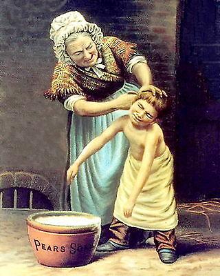 Print Good Old Days Victorian Grandmother Washing Dirty Boy Grandson Pears Bath