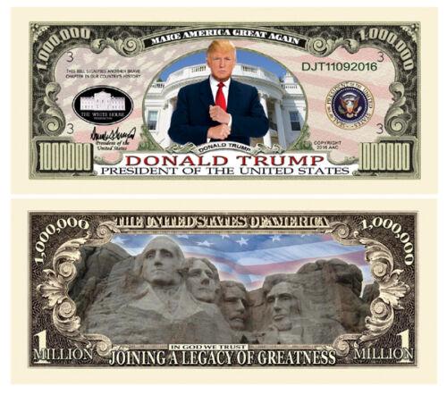5 Donald Trump President Money Fake Dollar Bills Legacy Note Million Lot