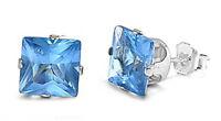 9x9mm Princess Cut Blue Topaz .925 Sterling Silver Stud Earrings .5 Free Ship on sale