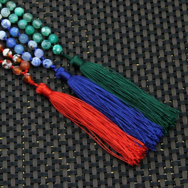 3Pcs 6mm Faceted Agate Gem Tibet Buddhist 108 Prayer Beads Mala Necklace