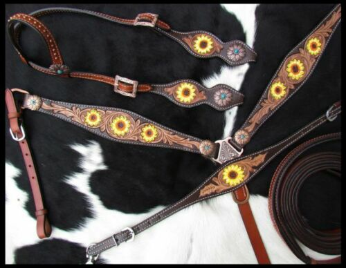 Showman Hand Painted Sunflower Leather Headstall /& Breast Collar Set w// Reins