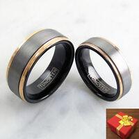 Tungsten Ring Silver Band Rose Gold Edge Wedding Men & Women Engraving Available