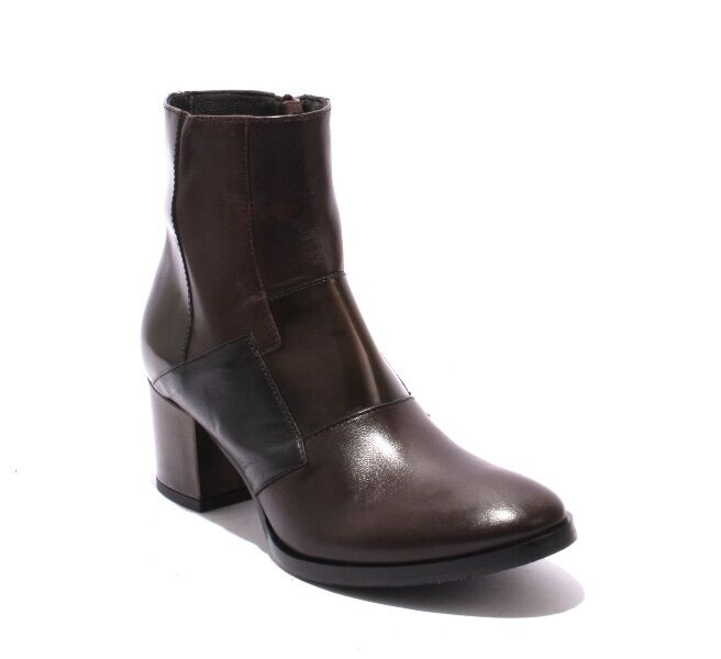 Mally 5490 Brown / Black Leather / Zip-Up / Ankle Heel Boots 36 / US 6