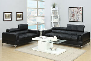 Innovative Design 2Pc Sectional Sofa Black Bonded Leather Living Room Furniture