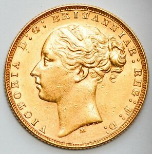 HIGH GRADE 1874-M (Melbourne) Queen Victoria St. George Reverse Gold Sovereign