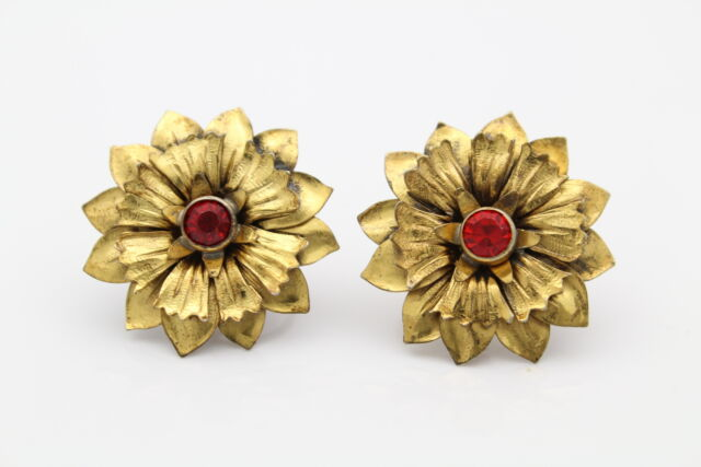 Vintage Sunflower Earrings Back Gold On Sterling Silver W Red Rhinestones