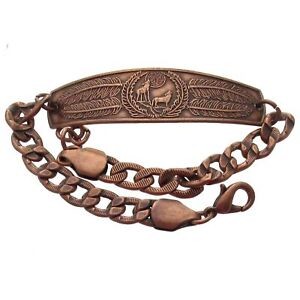 Solid-Copper-Bracelet-Jewelry-Wolf-Howling-Wolves-Feathers-Arthritis-Pain-Relief