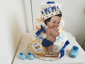 3 Tier Blue Amp Gold Little Prince Diaper Cake Baby Shower