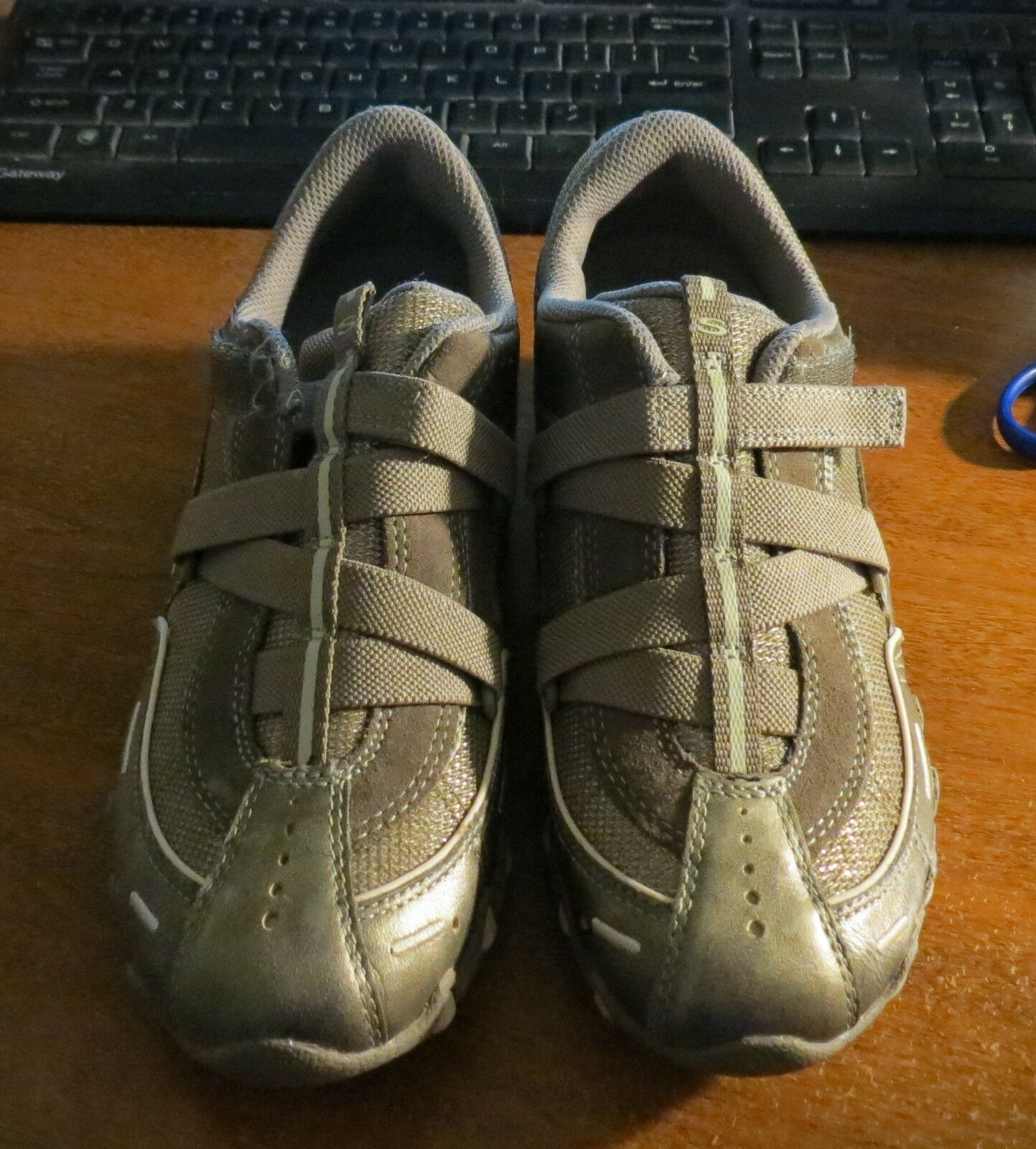 Skechers oro 7.5 Strap Metallic Tennis Athletic scarpe sz 7.5 oro hook loop bdd57b