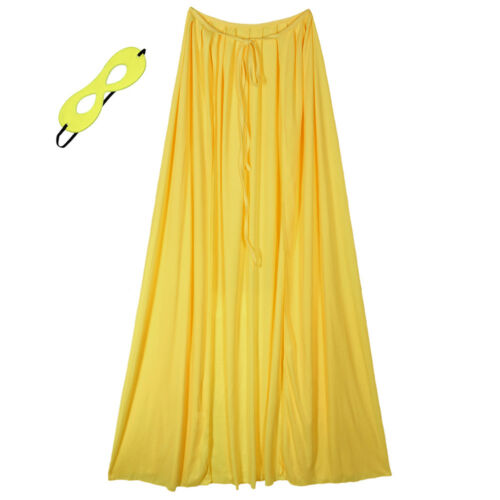 "48/"" Adult Yellow Superhero Cape /& Mask Costume Set ~ HALLOWEEN COSTUME PARTY"