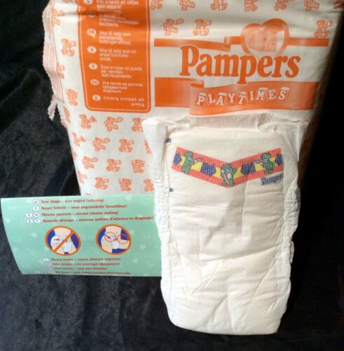 Vintage Pampers Playtimes Diaper Sz Maxi Europe Import