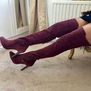 £ Rrp coscia scamosciati up Stivali scamosciati New Brand Uk 195 Torna lace rosa Cosciali taglia 8 U6qgAp