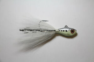 1 S/&S Rattletail Bucktail Jig 3//4 oz Glow DISC FOR 2+