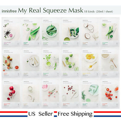 innisfree my real squeeze mask 18kinds (choose) + Fee Sample [ US Seller ]